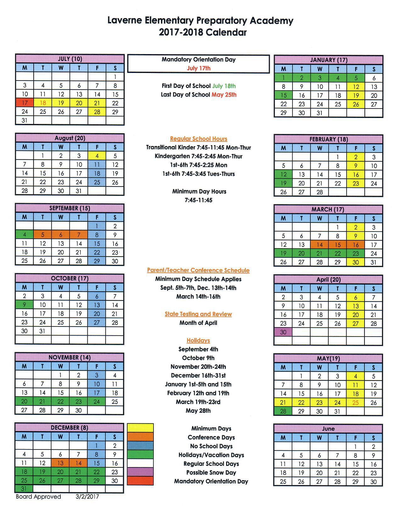 School Calendar 2018 : School calendar lepacademy