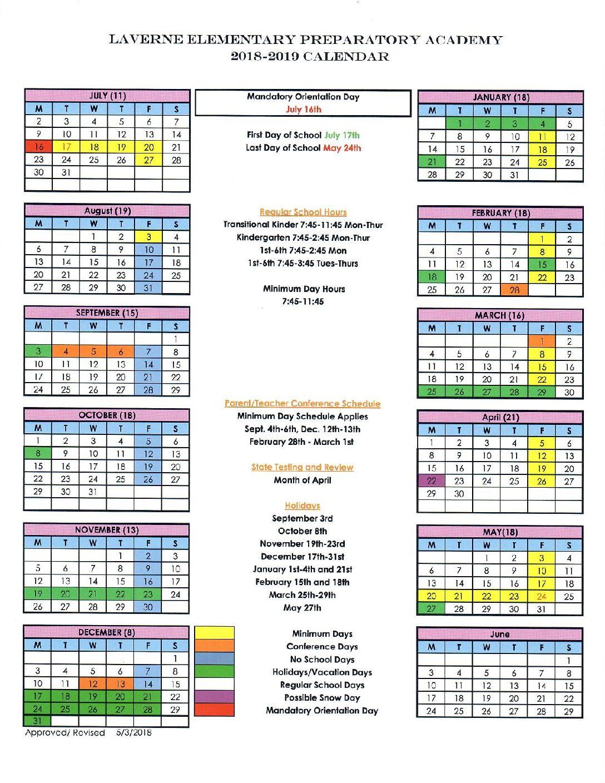 school calendar 2019 to 2019 pdf